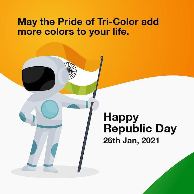 インドの宇宙飛行士は、インドの旗を手に持っています。 Premiumベクター