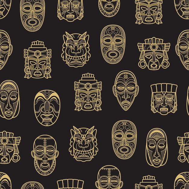 Indian aztec and african historic tribal mask seamless pattern Premium Vector