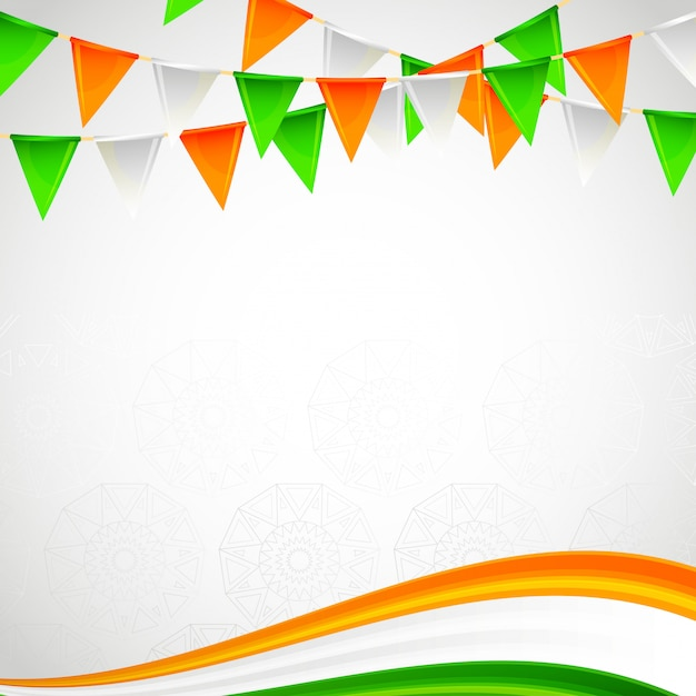 Indian blank frame card independence day Premium Vector