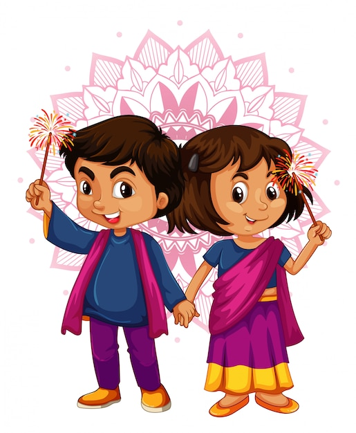 Indian boy and girl with mandala pattern in Free Vector