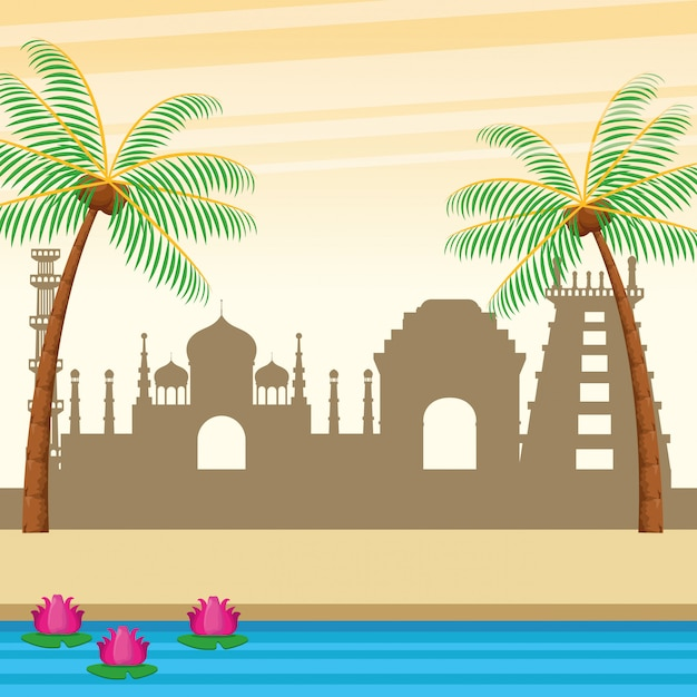 Indian buildings palms and river Free Vector