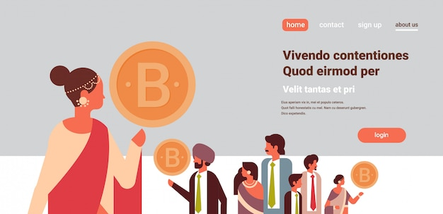 Indian businesswoman leader holding bitcoin cryptocurrency banner Premium Vector