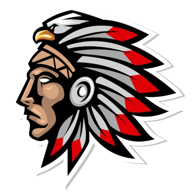 Indian cherokee head chief tribe Premium Vector