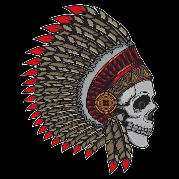 Indian chief old skull Premium Vector
