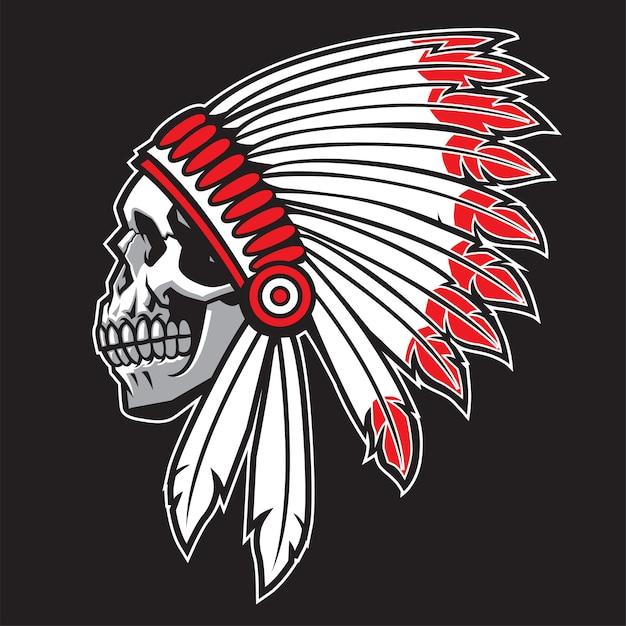 Indian chief skull Premium Vector