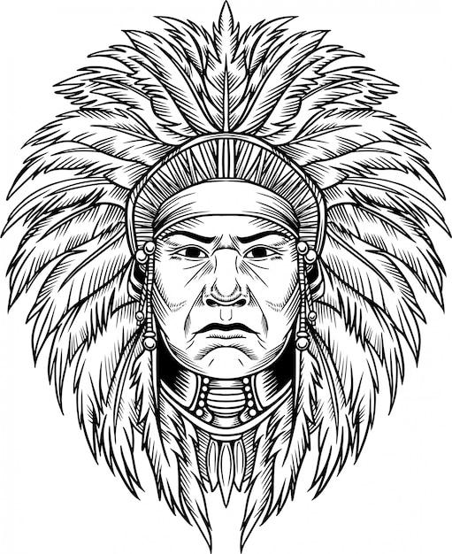Indian chief vector illustration Premium Vector