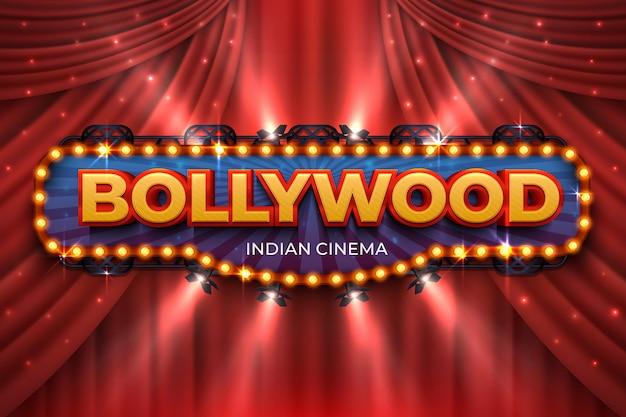 インド映画の背景。赤いカーテンとボリウッド映画のポスター、3 dのリアルな映画賞の舞台。ボリウッド映画撮影 Premiumベクター