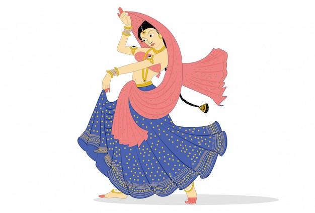 Indian Classical Dancer Performing Premium Vector