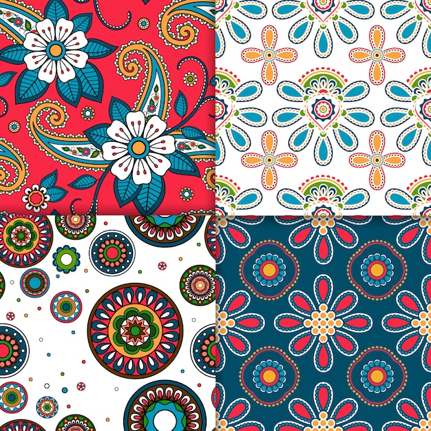 Indian colorful pattern set Premium Vector
