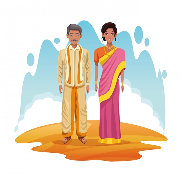 Indian couple of india cartoon Free Vector