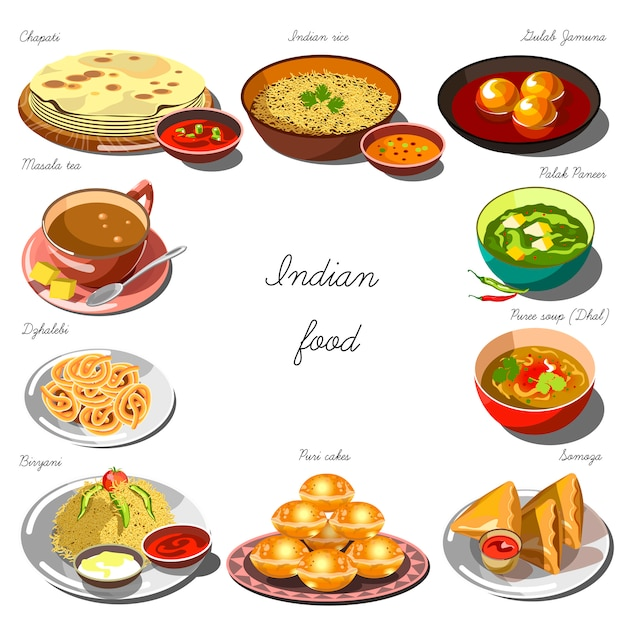 Indian cousine set. collection of food dishes Premium Vector