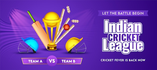Indian cricket league header or banner of participate team a & b with realistic cricket equipment and golden trophy cup on purple stadium background. Premium Vector