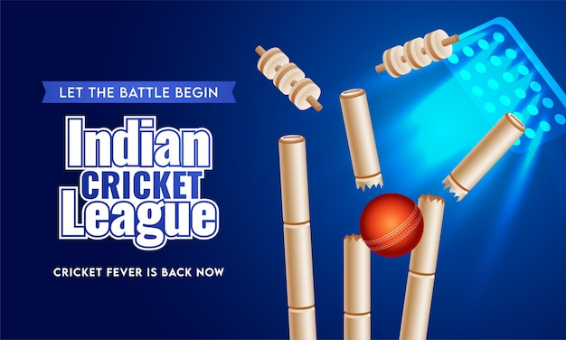 Indian cricket league text in sticker style with realistic red ball hitting wickets on blue stadium lighting background. Premium Vector