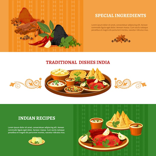Indian cuisine flat banners set Free Vector