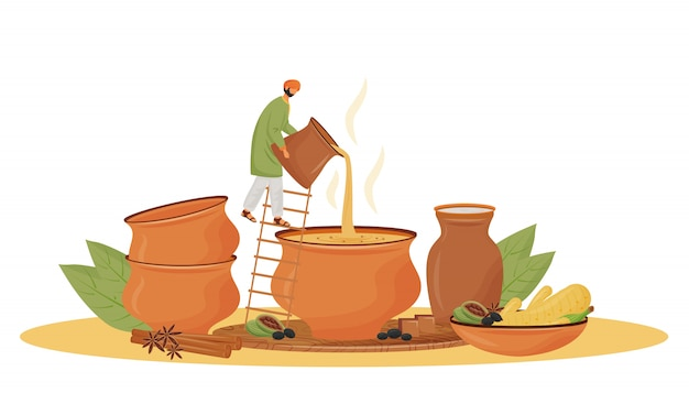 Indian cuisine, teashop service  concept  illustration. man pouring masala chai  cartoon character for web . traditional beverage, aromatic mixture serving creative idea Premium Vector