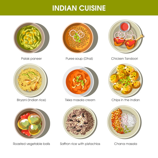 Indian cuisine traditional dishes vector flat icons set Premium Vector