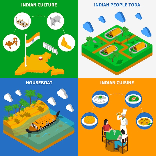 Indian culture isometric elements and characters Free Vector