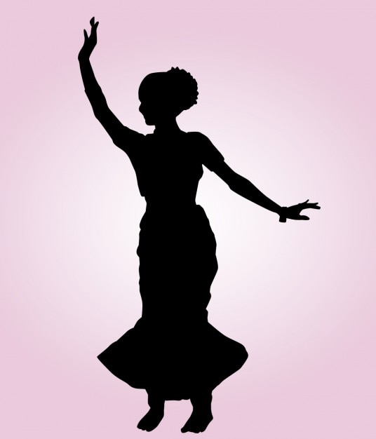 Indian Dancing Pose Silhouette Vector | Free Download
