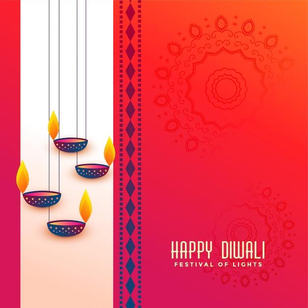 Приветствие фестиваля indian diwali с висячим дизайном diya Бесплатные векторы