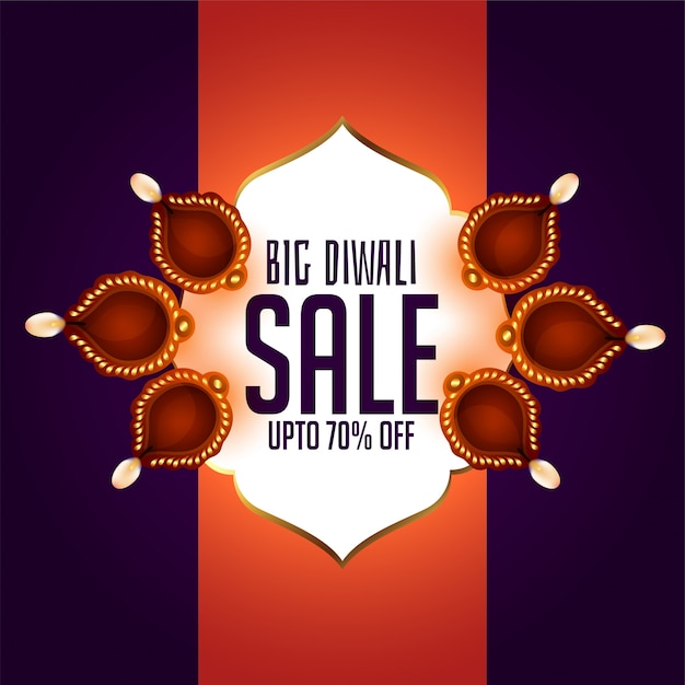 Indian diwali festival sale banner with diya s Free Vector