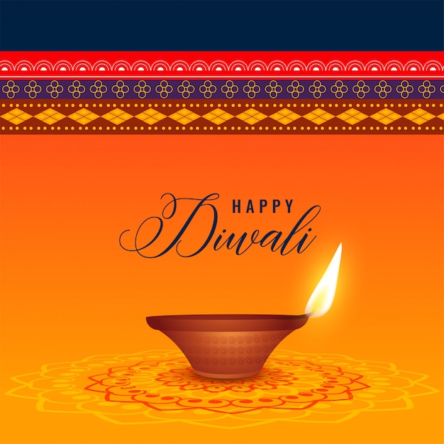 Indian diwali festival with diya and ethnic background Free Vector