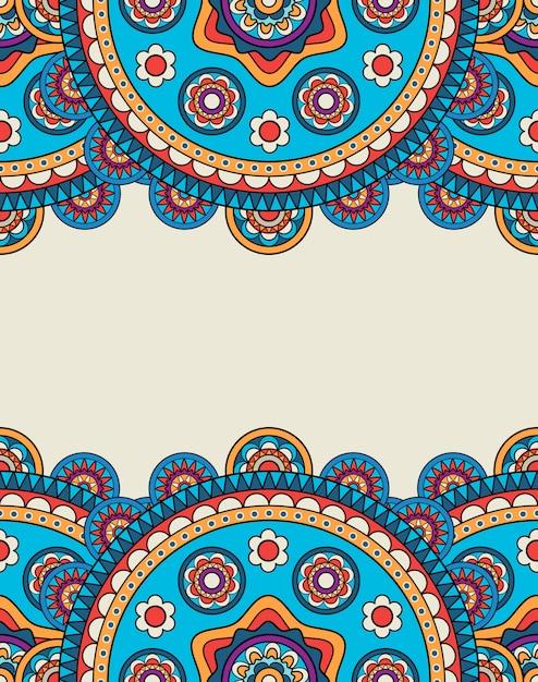 Indian doodle floral borders frame Premium Vector