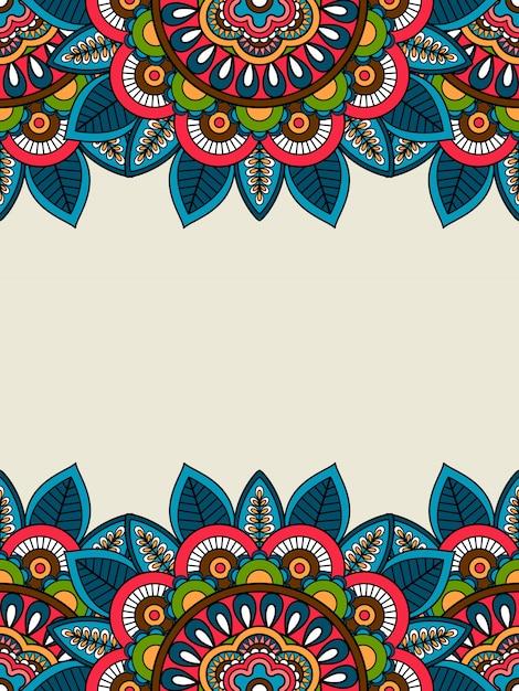 Indian doodle floral frame vertical Premium Vector