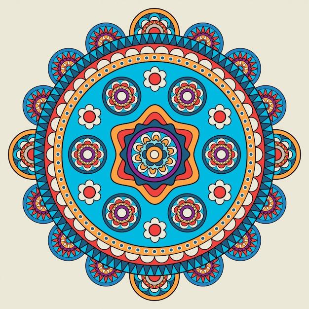 Indian doodle mehendi colored mandala Premium Vector