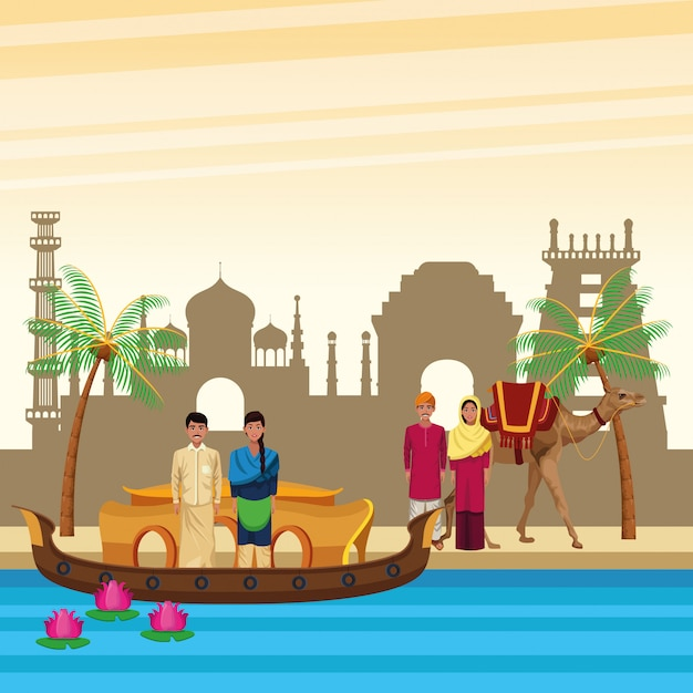 Indian ethnic people cartoons in city Free Vector
