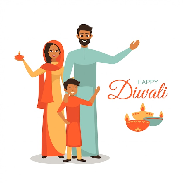 Indian family in national dress holds lit lamps for festival of lights wishing happy diwali Premium Vector