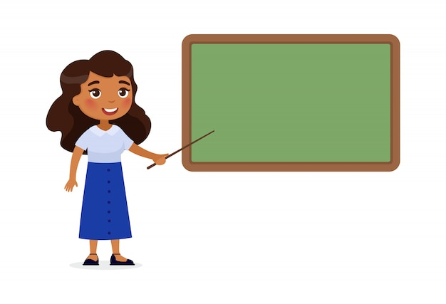 Indian female teacher standing near blackboard flat vector illustration. Free Vector