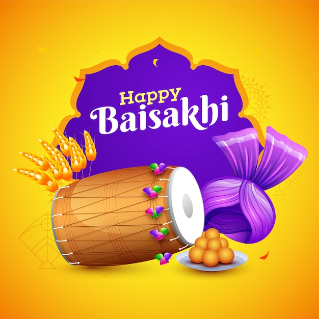 Indian festival celebration element on yellow and purple backgro Premium Vector