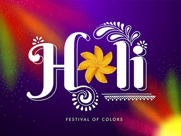 Indian festival of colors, holi text with traditional sweets on colorful background. Premium Vector