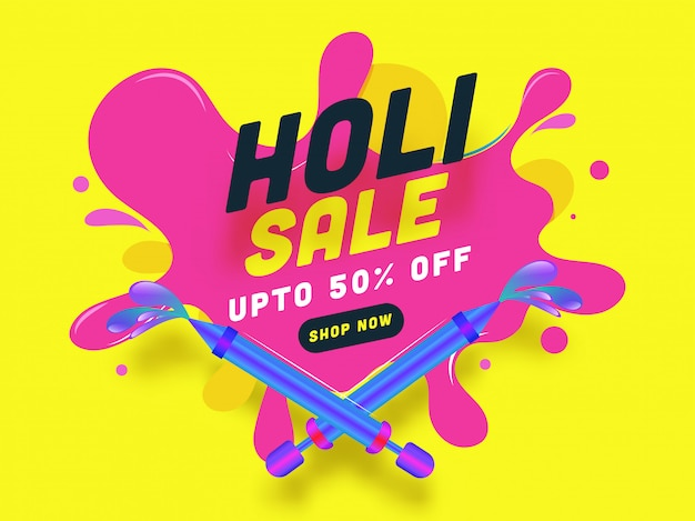 Indian festival of colours, holi sale illustration with colours splash spreading from colours guns toy. Premium Vector