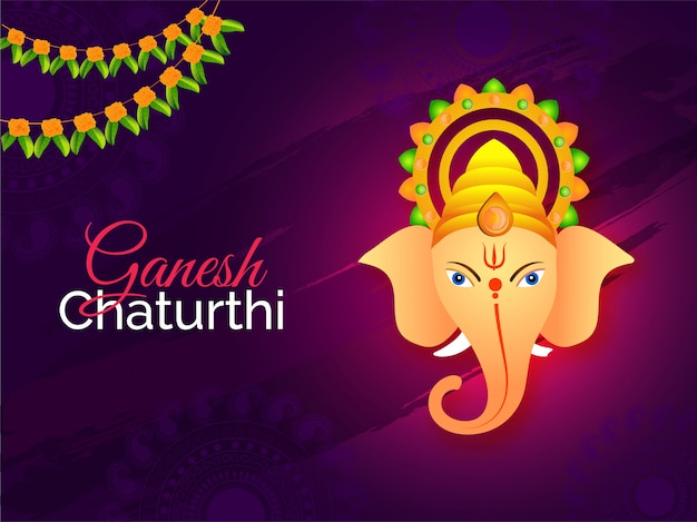 Indian festival ganesh chaturthi background. Premium Vector