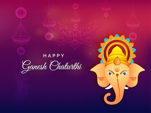 Indian festival ganesh chaturthi background. Premium Vector