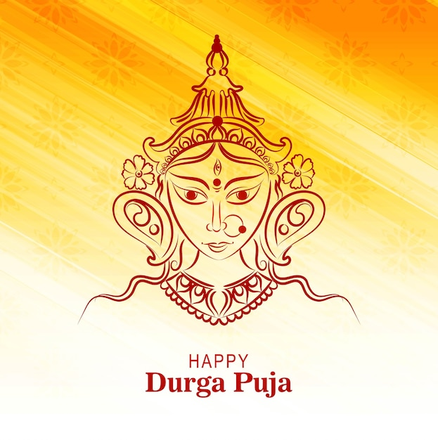 Indian festival happy durga pooja card Free Vector