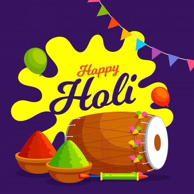 Индийский фестиваль цветов, happy holi иллюстрация с пудрой цветов, традиционные музыкальные инструменты и воздушные шары. Premium векторы