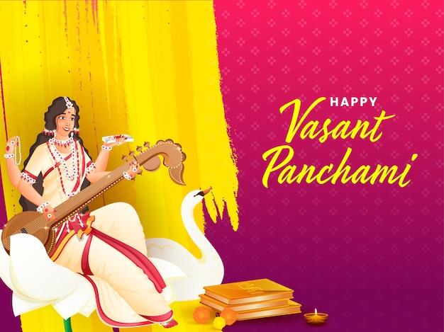 Indian festival vasant panchmi concept with goddess saraswati Premium Vector