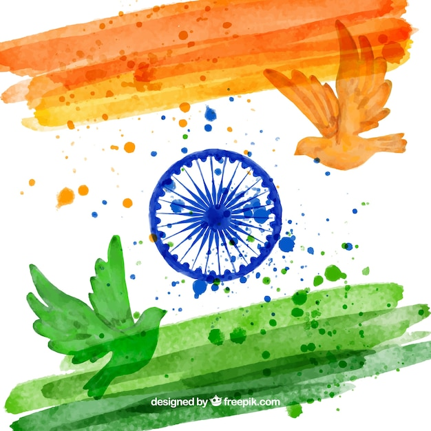 Indian flag background and watercolor dove Free Vector