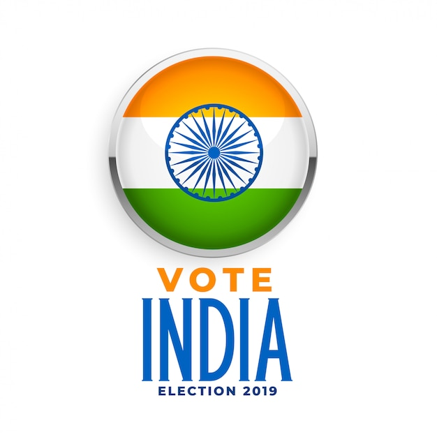 Indian flag label for election 2019 Free Vector