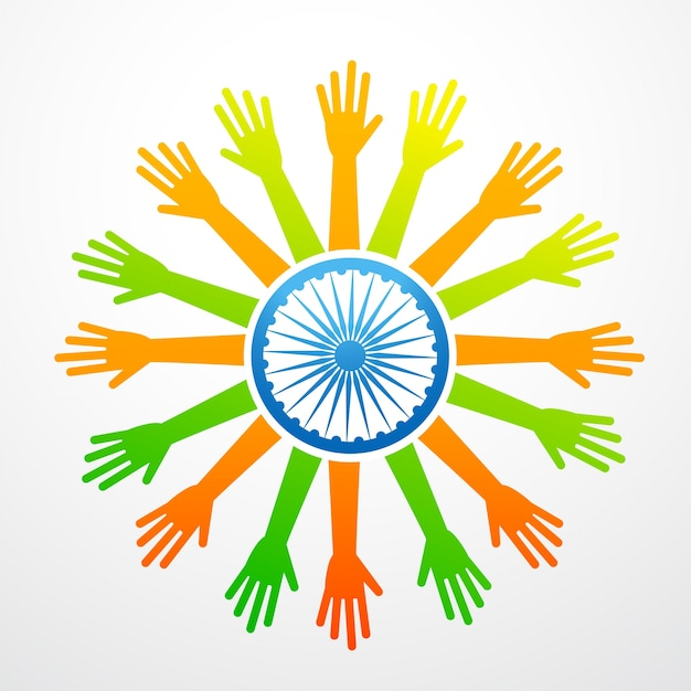 Indian flag made of hands