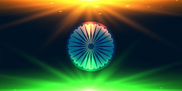 Indian flag made with lights background Free Vector
