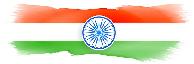 Indian flag made with watercolor Free Vector
