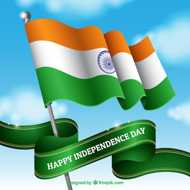 Indian flag waving in the sky Free Vector
