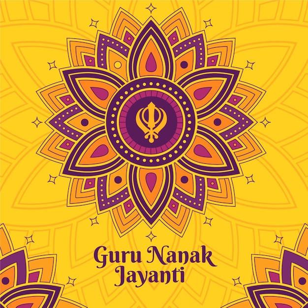 Indian flat designguru nanak jayanti floral Free Vector