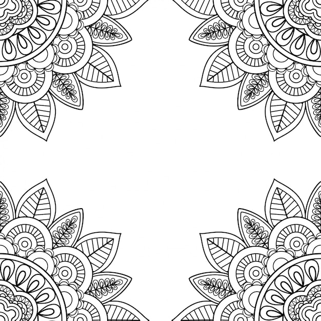 Indian floral frame for coloring pages book Premium Vector