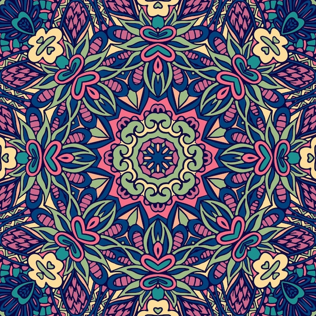 인도 꽃 기하학적 낙서 메달 패턴입니다. 민족 만다라 장식. 프리미엄 벡터