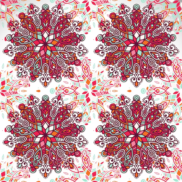 Indian floral paisley medallion pattern Free Vector