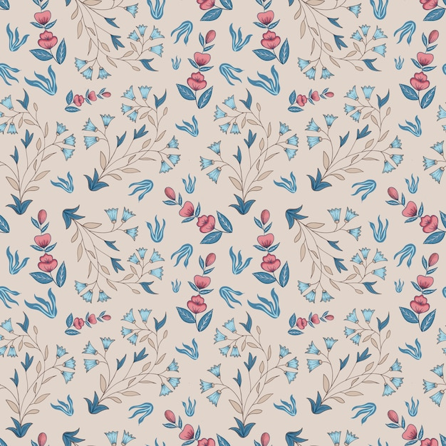 Indian floral. seamless pattern. champagne, pink, blue. Premium Vector
